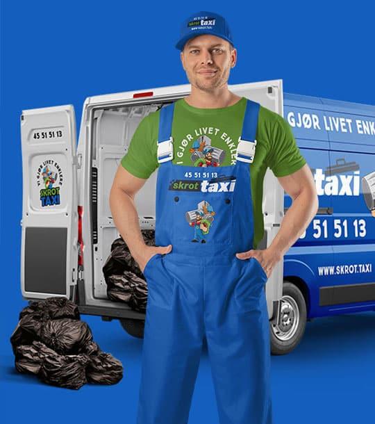 banner skrottaxi vi er best på søppeltaxi, søppelhenting og avfallshenting